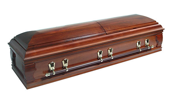 brown casket isolated on white
